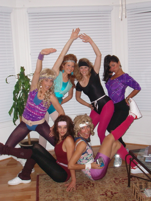 Myself and 5 friends dressed up as Jane Fonda Jazzercise workout enthusiasts